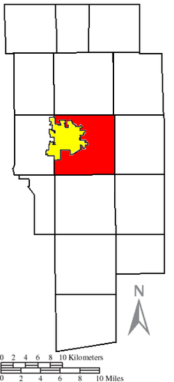 Location of Montgomery Township (red) adjacent to the city of Ashland (yellow) in Ashland County
