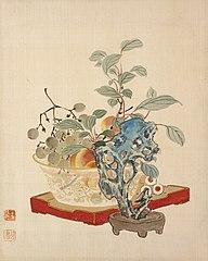 Fruit and a Taihu Rock