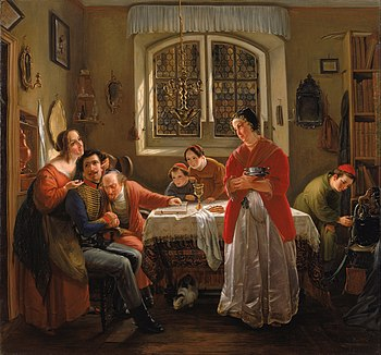 Moritz Daniel Oppenheim - The Return of the Volunteer from the Wars of Liberation to His Family Still Living in Accordance wit... - Google Art Project.jpg