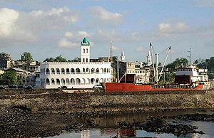 City Centre of Moroni, Capital of the Comores, with Central Mosque and Harbor Bay.