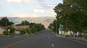 Moroni, Utah - View looking east on Main Street (State Route 116/132)