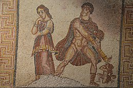 Mosaic panel depicting the madness of Heracles (Hercules furens), from the Villa Torre de Palma near Monforte, 3rd-4th century AD, National Archaeology Museum of Lisbon, Portugal (12973806145).jpg