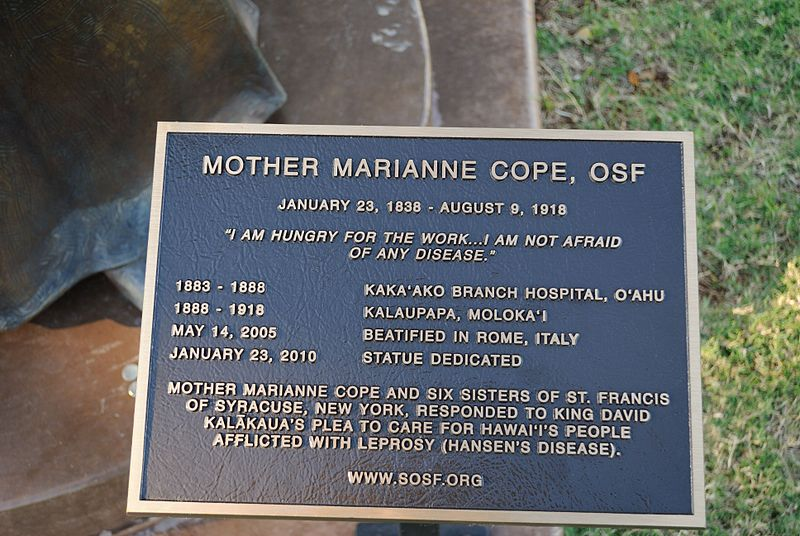 File:Mother Marianne Cope Plaque.jpg