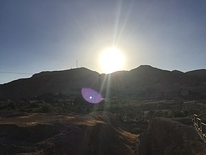 Mount of Temptation - The Mount of Temptation viewed from Jericho's ancient excavation site. To the left the cable car installation can be seen.