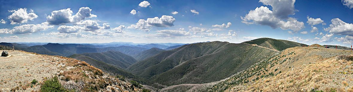 The Great Dividing Range, as seen from near Mount Hotham, Victoria Mt hotham alpine range scenery.jpg