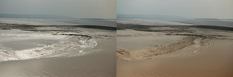 Effect of a polarizer on reflection from mud flats. In the picture on the left, the horizontally oriented polarizer preferentially transmits those reflections; rotating the polarizer by 90° (right) as one would view using polarized sunglasses blocks almost all specularly reflected sunlight. Mudflats-polariser.jpg