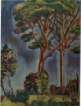 MurayamaKaita-1918-Pines and Chinese Hackberries.png