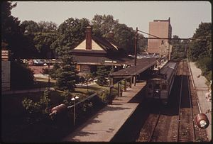 Chestnut Hill West Line - A Penn Central Silverliner at Chestnut Hill West station in May 1974.
