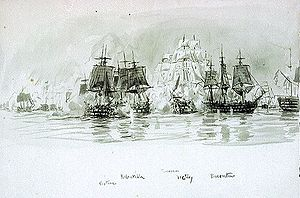 French ship Redoutable (1791) - Redoutable (second from left) overtakes Neptune (far left), rushing to cover the aft of Bucentaure (far right) from Nelson's Victory (centre).