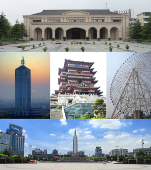 Nanchang - Clockwise from top: New Fourth Army Headquarter, Star of Nanchang, Bayi Square, Nanchang sunrise, Tengwang Pavilion.
