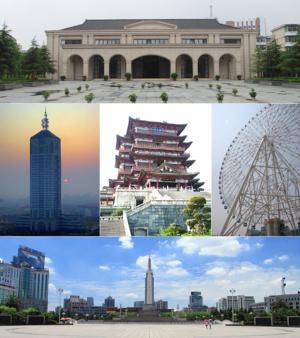 Nanchang - Clockwise from top: New Fourth Army Headquarter, Star of Nanchang, Bayi Square, Nanchang sunrise, Tengwang Pavilion.