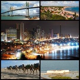 Acima à esquerda, a Ponte de Todos Newton Navarro; acima à direita, vista da praia de Pipa; no centro, vista de Natal à noite; abaixo à esquerda, camelos na praia de Genipabu; abaixo à direita, vista da Fortaleza dos Reis Magos.