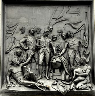 "Battle of Copenhagen (1801) - ""The Bombardment of Copenhagen"" by John Ternouth, relief on the east face of the plinth of Nelson's Column in London"
