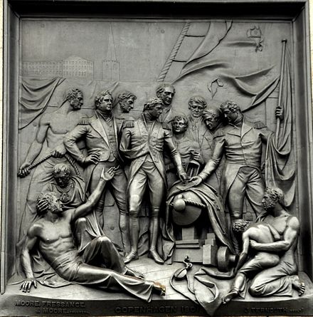 """The Bombardment of Copenhagen"" by John Ternouth, relief on the east face of the plinth of Nelson's Column in London Nelson's column - Battle of Copenhagen relief.jpg"