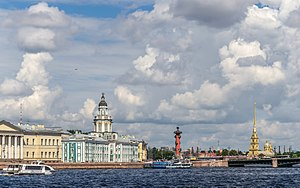 Vasilyevsky Island - Spit of Vasilyevsky Island. View to Universitetskaya Embankment, Kunstkamera museum and Peter and Paul Fortress
