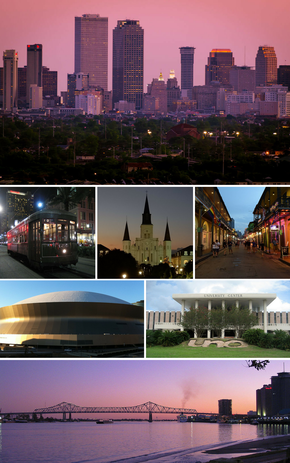 De haut en bas, de gauche à droite: Central Business District, un tramway à la Nouvelle-Orléans, la cathédrale Saint-Louis à Jackson Square, Bourbon Street, Mercedes-Benz Superdome, l'Université de la Nouvelle-Orléans, Crescent City Connection