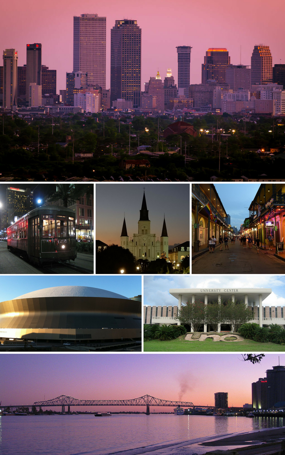 From top, left to right: Central Business District, a streetcar in New Orleans, St. Louis Cathedral in Jackson Square, Bourbon Street, Mercedes-Benz Superdome, University of New Orleans, Crescent City Connection