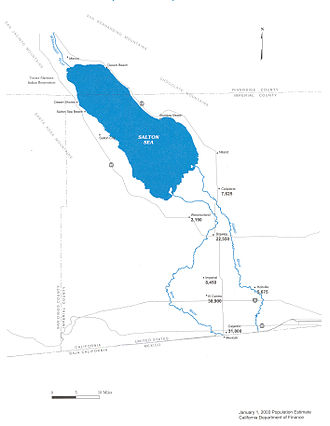 New River (Mexico–United States) - Map of the New River (left) Watershed; Alamo River on the right.