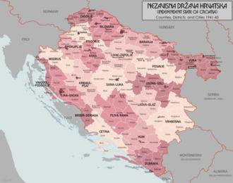 June 1941 uprising in eastern Herzegovina - Image: Nezavisna Drzava Hrvatska Districts
