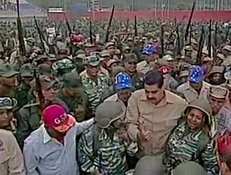 Presidency of Nicolás Maduro - President Maduro among troops during a May 2016 exercise.