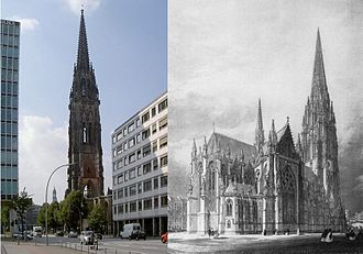 St. Nicholas' Church, Hamburg - Right: The neo-Gothic church. Left: the tower that survived.