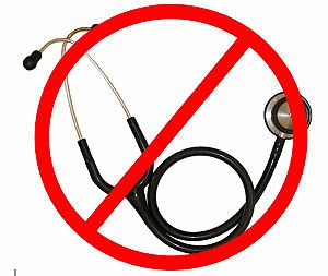 Stethoscope with a red circle around and line ...