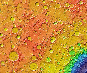 Noachian - MOLA colorized relief map of Noachis Terra, the type area for the Noachian System. Note the superficial resemblance to the lunar highlands. Colors indicate elevation, with red highest and blue-violet lowest. The blue feature at bottom right is the northwestern portion of the giant Hellas impact basin.