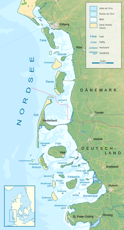 wattenmeer dänemark karte Nordfriesische Inseln – Wikipedia