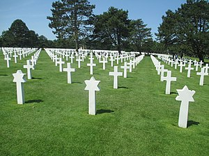 Normandy American Cemetery and Memorial - Omaha Beach Memorial (1953–56), Harbeson, Hough, Livingston & Larson, architects.