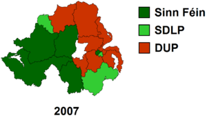 Largest share of first preference vote by constituency.