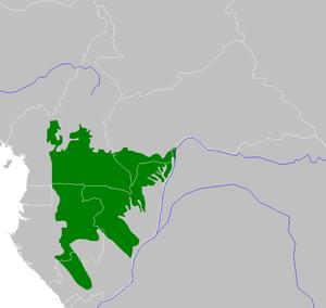 Northwestern Congolian lowland forests - Image: Northwestern Congolese lowland forests map