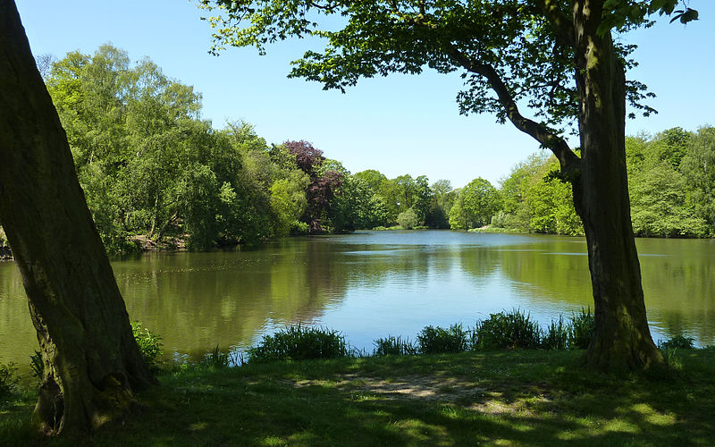 The Lower Lake in the Parkland at Nostell Priory (NT) in Yorkshire.