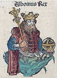 An image of a bearded man with a crown and a sceptre in one hand and a globe cruciger in the other