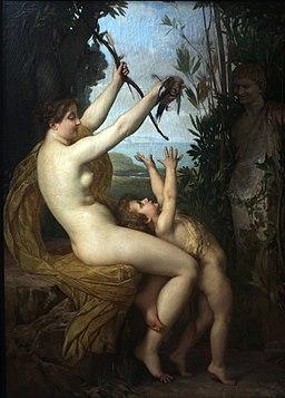 Jules Joseph Lefebre, Nymphe et Bacchus, 1866, Wikimedia Commons