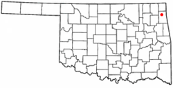 Location of Dennis, Oklahoma