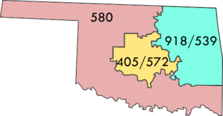 Area codes 405 and 572 Area code serving central Oklahoma, United States