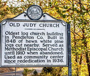 Old Judy Church - Image: Old Judy Church Historic Marker 2762