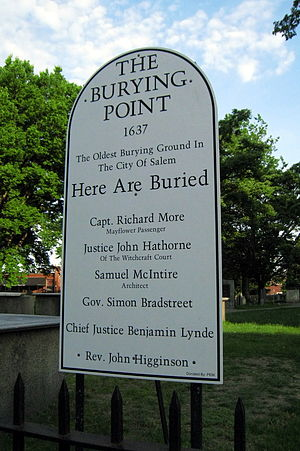 Richard More (Mayflower passenger) - Capt. Richard More memorial near his grave in Salem, Massachusetts