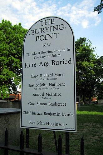 Richard More (Mayflower passenger) - Capt. Richard More memorial near his grave in Salem, Massachusetts