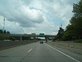 "Interstate Highway standards - A narrow older ""grandfathered"" section of I-94/I-69 after entering Michigan from Sarnia, Ontario. This section has since been reconstructed to modern standards."