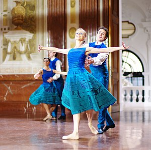 "Vienna State Ballet - Vienna State Ballet dancers Olga Esina and Roman Lazik perform ""Donauwalzer"" in the Belvedere Palace, Vienna, Austria, on December 31, 2011 (photo by Alfred Weidinger)"