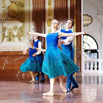 "Vienna State Ballet - Vienna State Ballet dancers Olga Esina and Roman Lazik perform ""Donauwalzer"" in the Belvedere Palace, Vienna, Austria, on December 31, 2011 (photo by Alfred Weidinger)"