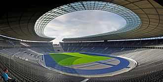 Hertha BSC -  The Olympiastadion after renovation in 2004.