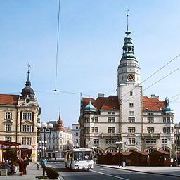 Opava townhall and trolleybus 2001.jpg