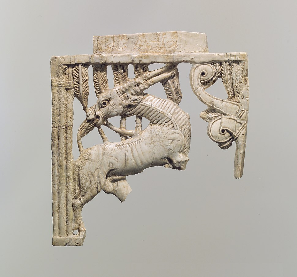 Openwork furniture plaque with a grazing oryx in a forest of fronds MET DP110622