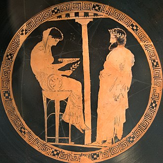 "Ancient Greek religion - Aegeus at right consults the Pythia or oracle of Delphi. Vase 440–430 BC.  He was told ""Do not loosen the bulging mouth of the wineskin until you have reached the height of Athens, lest you die of grief"", which at first he did not understand."