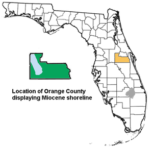 Orange County, Florida paleontological sites - Orange County during the Miocene with most of the county as dry land.