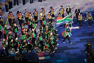 South Africa at the 2012 Summer Paralympics - The team enters the stadium during the opening ceremony with Oscar Pistorius carrying the flag