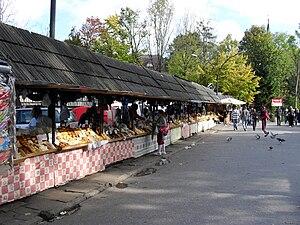 The cheese market at Zakopane in Poland, selli...