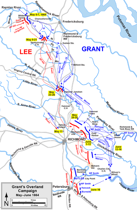 Overland Campaign, from the Wilderness to crossing the James River Overland-Richmond.png